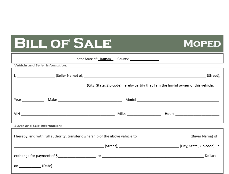 Kansas Moped Bill of Sale
