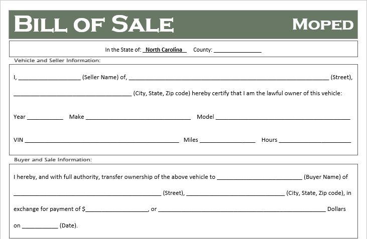 North Carolina Moped Bill of Sale