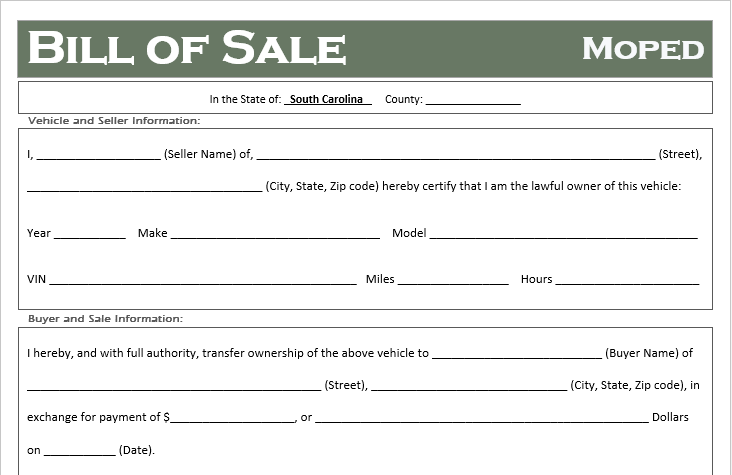 South Carolina Moped Bill of Sale