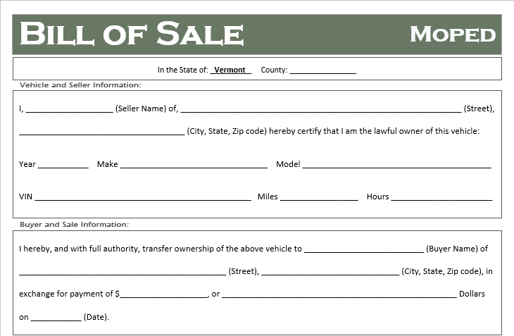 Vermont Moped Bill of Sale