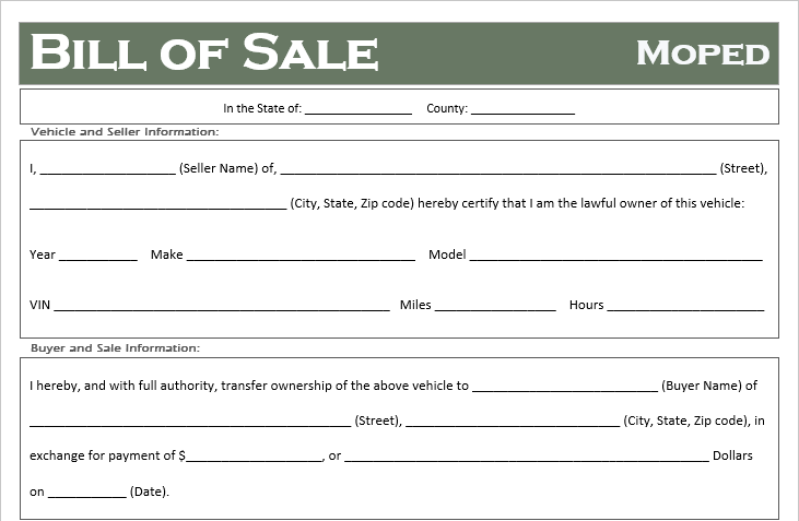 free moped bill of sale template - all states