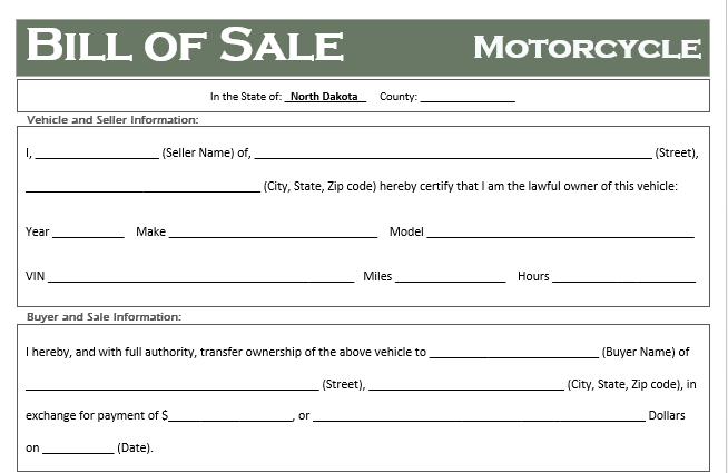 North Dakota Motorcycle Bill of Sale