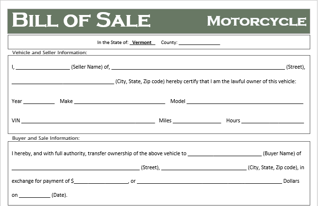 Vermont Motorcycle Bill of Sale