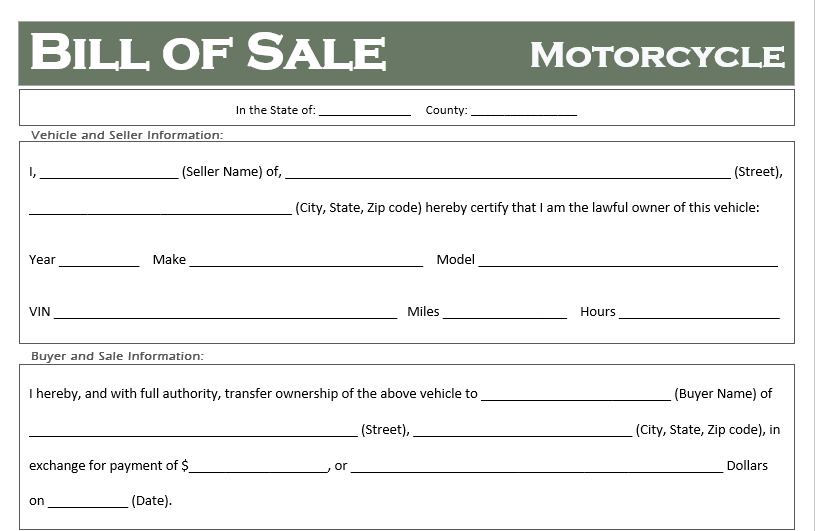 free motorcycle bill of sale templates - all states