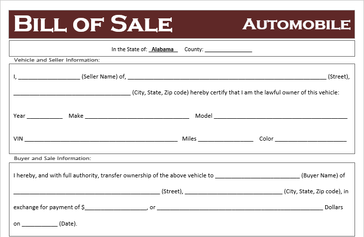 Alabama Car Bill of Sale