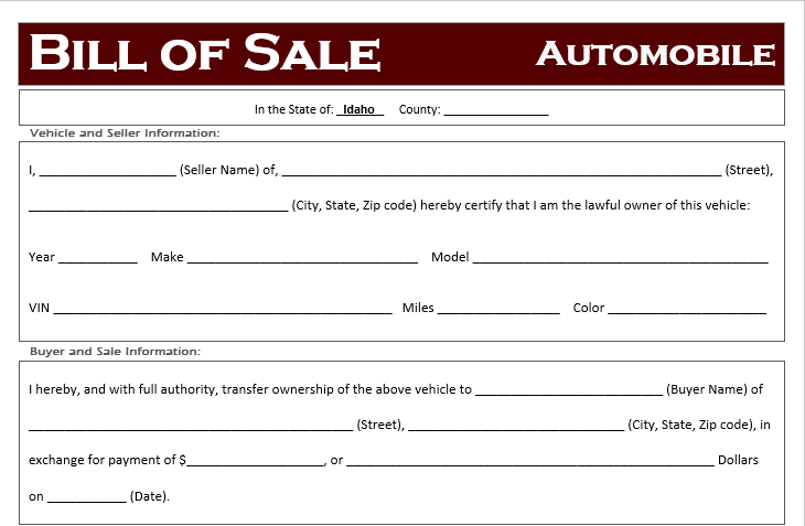 Idaho Car Bill of Sale