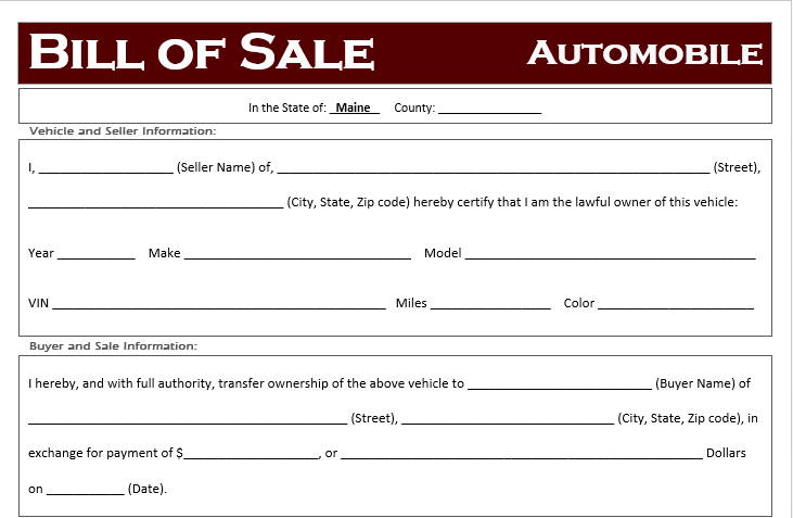 Maine Car Bill of Sale