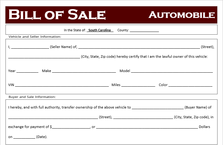 South Carolina Car Bill of Sale